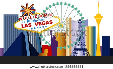 las vegas welcome sign and city