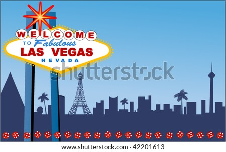 Las Vegas Welcome sign with strip behind (layered for easy changes) - stock vector