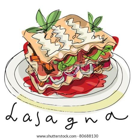 Lasagna Stock Vector Illustration 80688130 : Shutterstock