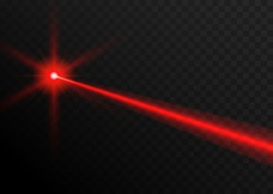 Laser beam red light. Vector laser beam line ray glow effect energy.