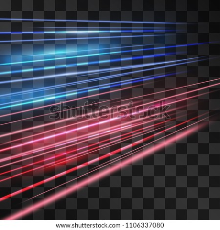 Laser blue and red glow vector speed flash. Motion effect light road flow on transparent background. Light energy stream for modern hi-tech design. Power neon flow of moving particles trace.
