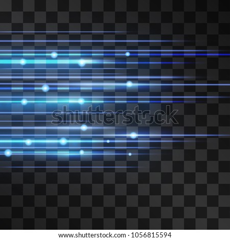 Laser blue glow vector illumination. Motion effect light blinking on transparent background. Light energy stream for modern hi tech design. Power neon flickin flow of high speed particles, space shine