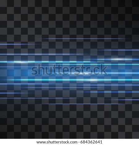 Laser blue glow vector scintillation. Motion effect light blinking on transparent background. Light energy stream illustration for modern hi-tech design. Power neon flow of high speed particles.