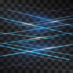 Laser blue signaling room glow vector . Crossed light streams blinking on transparent background. Light energy rays illustration for modern hi tech design. Power neon flow of high speed particles.
