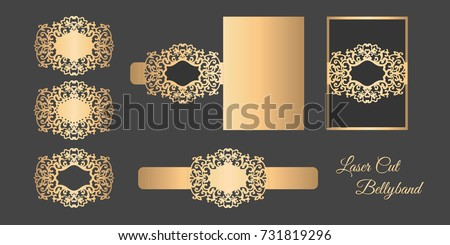 Laser cut bellyband template. Wedding invitation.