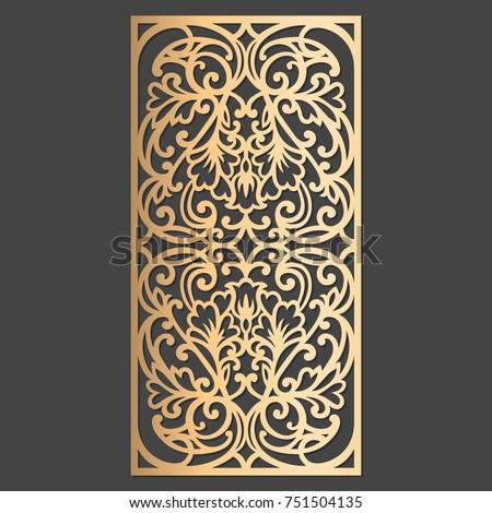 Laser cut decorative element. Wall or window panel cutting template. Die cut embellishment.