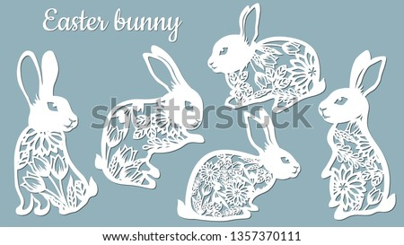 Laser cut Easter bunny rabbit. Floral fancy hare with laser cut pattern for die cutting. Laser cutting rabbit template