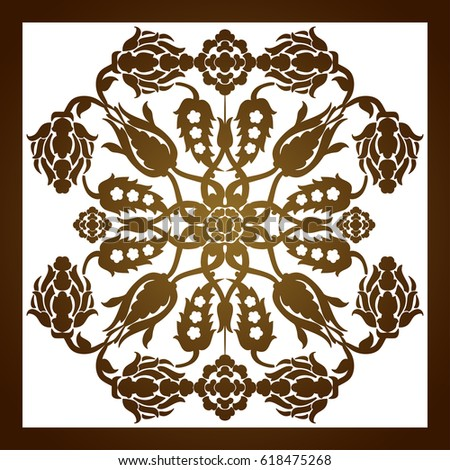 Laser Cut Floral Arabesque Ornament Pattern Vector Template Cutting