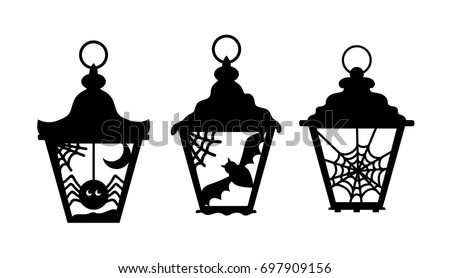 Laser cut lanterns. Halloween decoration for holiday, invitation card, scrapbooking. Flashlight silhouette. Spider, spiderweb, bat at candlesticks. Vector element isolated on transparent background.