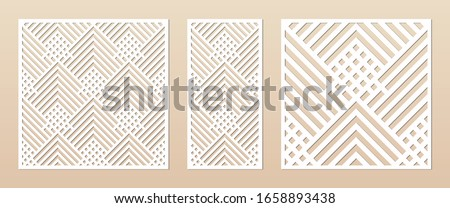 Laser cut panel. Abstract geometric pattern with lines, rhombuses, squares. Elegant decorative template for wood cut, paper card, metal cutting, engraving, fretwork, carving. Aspect ratio 1:1, 1:2 Stockfoto ©