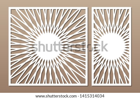Laser cut panel. Set decorative card for cutting. Flower mandala mandala pattern. Ratio 1:1, 1:2. Vector illustration.