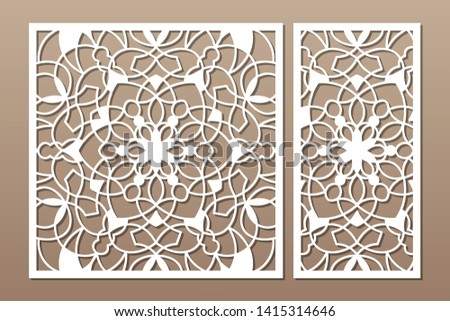 Laser cut panel. Set decorative card for cutting. National ethnic mandala pattern. Ratio 1:1, 1:2. Vector illustration.