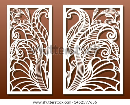Laser cut panels with exotic floral pattern. Use for die templates, cut-out for wood or metal decor or fretwork, card engraving stencil. Ornate Vector set.