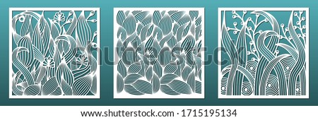 Laser cut panels with floral pattern. Set of templates for interior design, wall art decor, room divider screens. Wood or metal cutting and carving, fretwork stencils. Vector illustration Stockfoto ©
