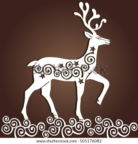 laser cut paper christmas deer merry christmas greeting card christmas deer for wood carving - Wooden Laser Cut Christmas Decorations