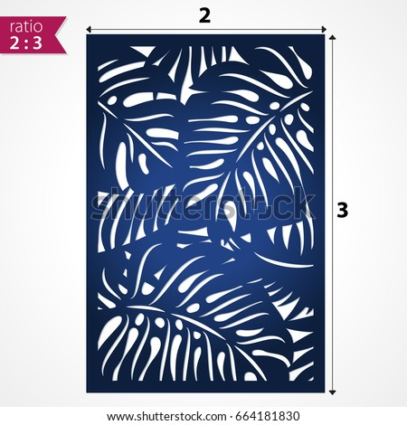 Shutterstock Laser cut pattern with tropical palm leaves. Die cut card. Laser cut vector  foliage panel. Cutout silhouette with botanical palm pattern. Filigree monstera  leaves for paper cutting.