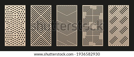Laser cut patterns collection. Vector set with abstract geometric ornament, lines, stripes, grid, lattice. Decorative stencil for laser cutting of wood panel, metal, plastic, paper. Aspect ratio 1:2 Сток-фото ©