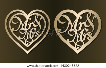 Laser cut pendants template. Set of jewelry love heart with Mr & Mrs. Golden vector illustration. Bijouterie design. Heart silhouette for Valentine's day for wood carving, paper cut, diecut pattern. ストックフォト ©