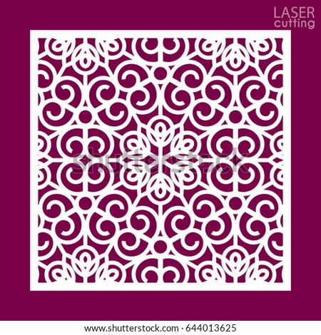Laser cut square ornamental panel with pattern. Template of wedding invitation or greeting card. Cabinet fretwork panel. Metal design, wood carving.