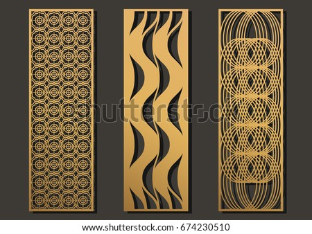 Laser Cut Template Panels Set Die Geometric Pattern Rectangle Shape For Metal Wooden