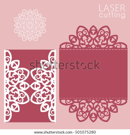 Laser cut wedding invitation card template vector. Cutout paper gate fold card for laser cutting or die cutting template. Wedding invitation mockup. Suitable for greeting cards, invitations, menus.