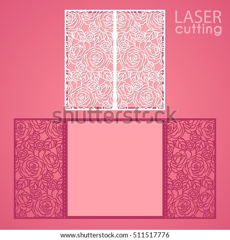 Laser cut wedding invitation card template vector. Die cut paper card with lace roses pattern, openwork ornament. Cutout paper gate fold card for laser cutting or die cutting template.