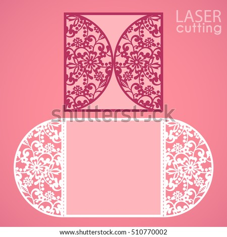 Laser cut wedding invitation card template vector. Die cut paper card with lace round pattern. Cutout paper gate fold card. Suitable for greeting cards, invitations, menus.