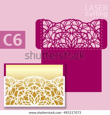 Laser cut wedding invitation card template vector. Wedding invitation or greeting card with abstract ornament. Open card. Suitable for greeting cards, invitations, menus.