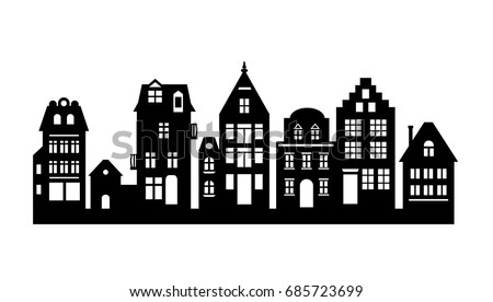 silhouette houses vector icons download free vector art stock