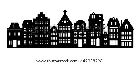 Laser cutting Amsterdam style houses. Silhouette of a row of typical dutch canal view at Netherlands. Stylized facades of old buildings. Wood carving vector template. Background for banner, card.