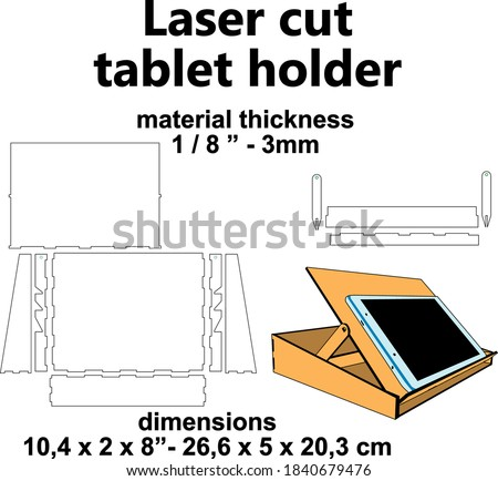 """Laser cutting design Laser cut pattern Laser cut wood Laser cut vector template mdf plywood 3mm 1/8"""" Tablet holder template office supplies telecommunting material study drawing paper holder"""