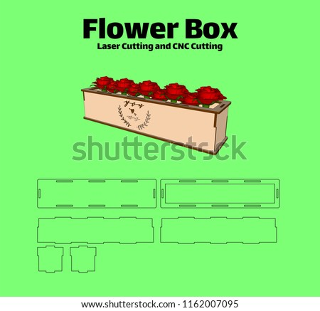 Laser cutting Flower Box. without using glue. for wood 3 mm