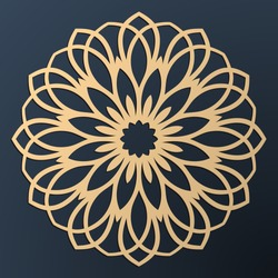 Laser cutting mandala. Golden floral pattern. Oriental silhouette ornament. Vector coaster design.