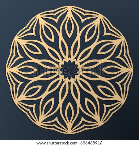 Laser cutting mandala. Golden floral pattern. Oriental silhouette ornament. Vector coaster design.