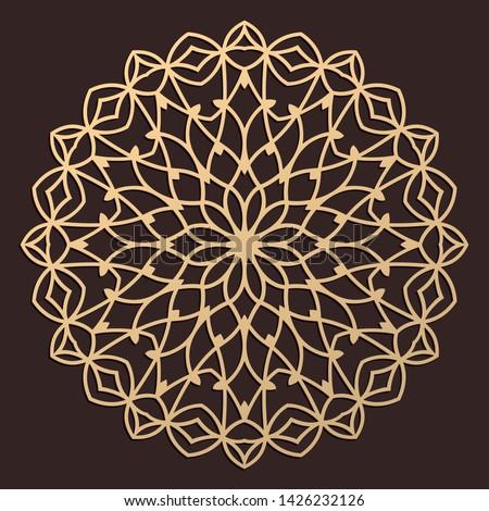 Laser cutting mandala. Wooden decal. Boho concept. Golden floral pattern. CNC silhouette ornament. Vector coaster lasercut design. Flower for woodcut, papercut or metalcut. Plywood.