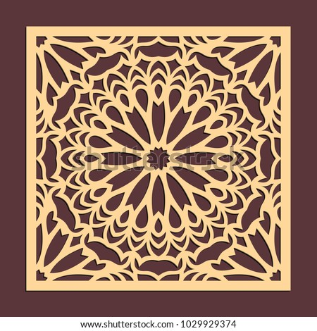 Laser cutting panel. Golden floral pattern. Gift or favor box silhouette ornament. Vector coaster design for metal, wood, paper work.