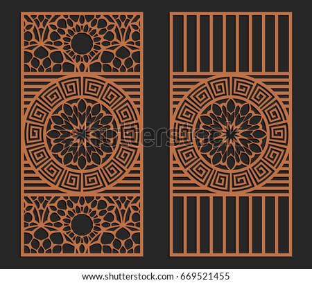 Laser cutting set. Wall panels. Jigsaw die cut ornaments. Lacy cutout silhouette stencils. Fretwork floral patterns. Vector template for paper cutting, metal and woodcut