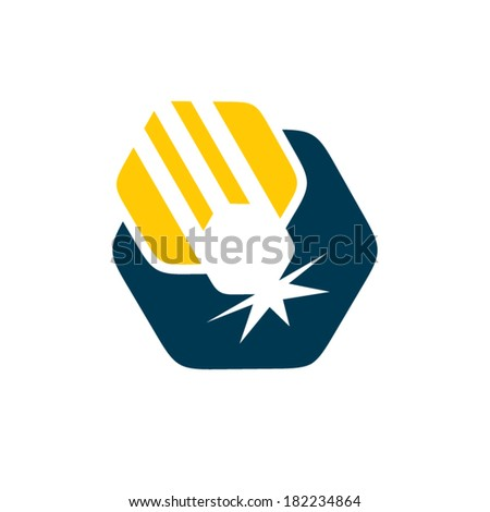 Laser cutting sign Branding corporate logo isolated on white background