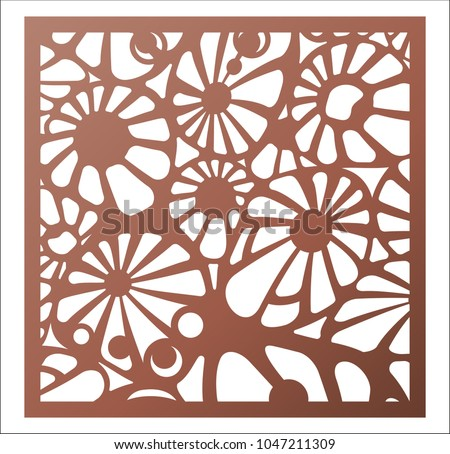 Laser Cutting Square Panel Abstract Openwork Floral Pattern Perfect For Gift Box Silhouette Ornament