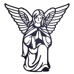Laser cutting template. Angel in reverent prayer. Ornate stencil for baptism. Die cut black and white silhouette. Paper cutout. Icon. Logo. Vector illustration for wedding invitation, birthday card.