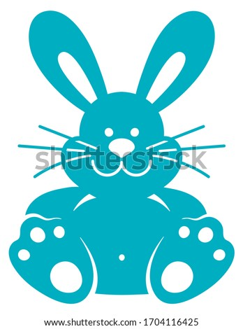 Laser cutting template. Cute cartoon bunny. Rabbit. Easter animal bauble isolated. Paper toy cutout. Stamp. Silhouette pet.
