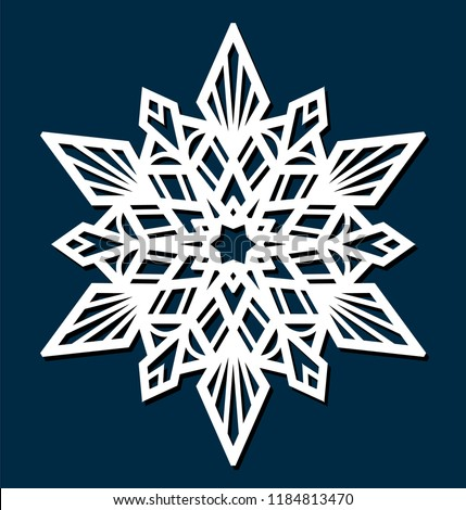 Laser cutting template. Die cut Christmas star. Snowflake Mandala. Doily lace. Oriental pattern, vector illustration. Paper cutout snowflakes motifs. Stencil