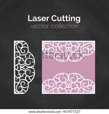 Laser Cutting Template. Laser Cut Card. Cutout Illustration With Abstract Decoration. Die Cut Wedding Invitation Card. Vector Envelope Design.