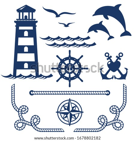 Laser cutting template. Nautical wedding set in vintage style. Anchor, wheel, compass, seagull, dolphin, lighthouse, wave ocean, rope corner.  Set of sea and nautical decorations isolated on white.