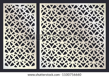 Laser cutting template. Woodcut vector trellis panel. Plywood laser cut eastern design. Abstract geometric pattern for printing, engraving, paper cutting. Stencil lattice ornament. Die cut. Vector.