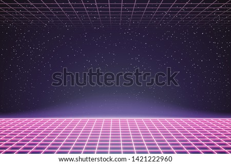 Laser Grid in Deep Space. Retro Futuristic Template in 80s Style. Synthwave, Retrowave, Vaporwave Theme