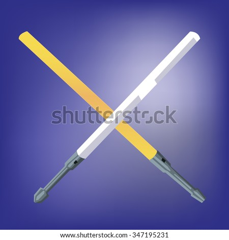 laser light swords crossed one