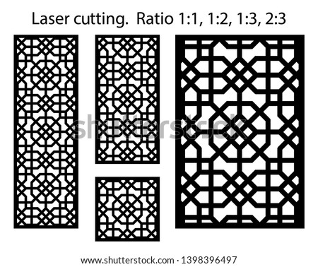 Laser pattern. Set of decorative vector panels for laser cutting. Template for interior partition in arabesque style. Ratio 1:1,1:2,1:3,2:3