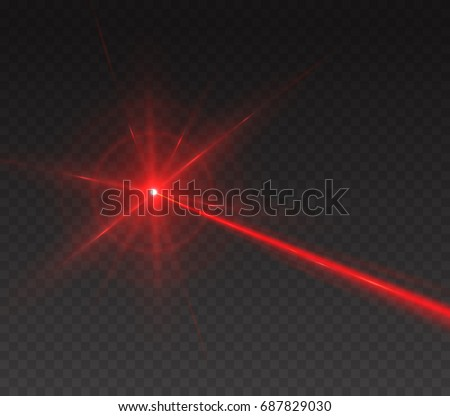 Laser security beam isolated on transparent background. Magic red shine light ray with glow target flash. Vector red neon or laser line effect for your design.