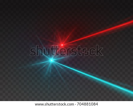 Laser security beams isolated on transparent background. Abstract red and blue light rays with glow flash. Vector neon line target effect for your design.